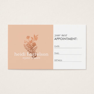 Rose Gold Floral Logo on Peach Appointment Business Card