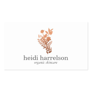 Rose Gold Floral Logo on White Pack Of Standard Business Cards