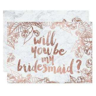 Rose gold floral marble Will you be my Bridesmaid 9 Cm X 13 Cm Invitation Card