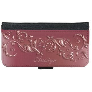 Rose Gold Floral Ornate Design iPhone 6 Wallet Case