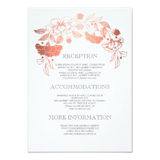 Rose Gold Floral Wedding Details - Information Card