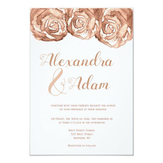 Rose gold floral wedding invitations