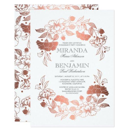 Rose Gold Floral Wreath Elegant Engagement Party Card
