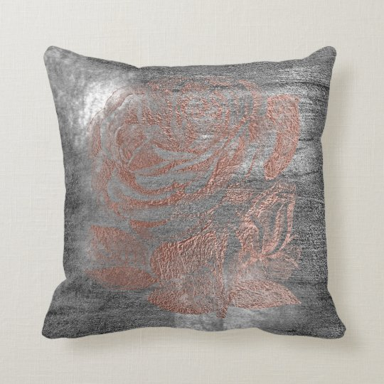 Rose Gold Flower Gray Grungy Metallic Silver Wall