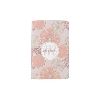 Rose Gold Flower Pattern & Monogram Pocket Moleskine Notebook