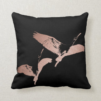 Rose Gold Flying Flamingo Cushion