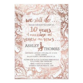 Rose gold foil boho floral hand drawn vow renewal 13 cm x 18 cm invitation card