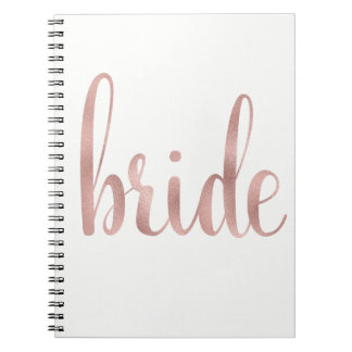 Rose gold foil bride notebook