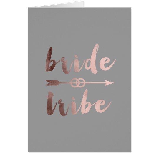 rose gold foil bride tribe arrow wedding rings card