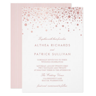 Rose Gold Foil Confetti Dots Wedding Invitation