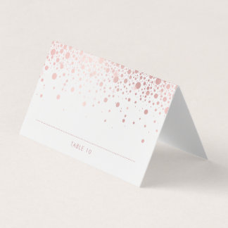 Rose Gold Foil Confetti Dots Wedding Place Cards