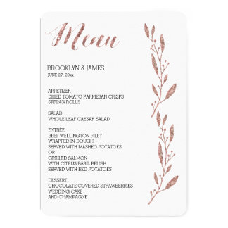 Rose Gold Foil Effect Wedding Menu Floral Card