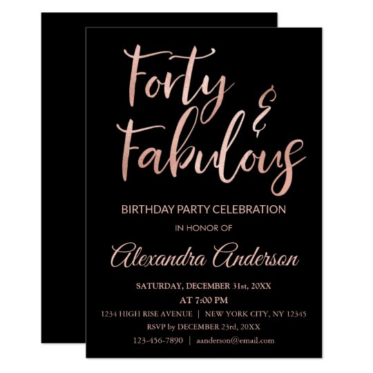 Rose Gold Foil Forty and Fabulous Birthday Card