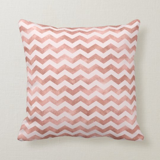 Rose Gold Foil Girly Chevron Stripes Pattern Cushion