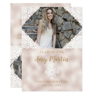 Rose Gold Foil Graduation Announcement