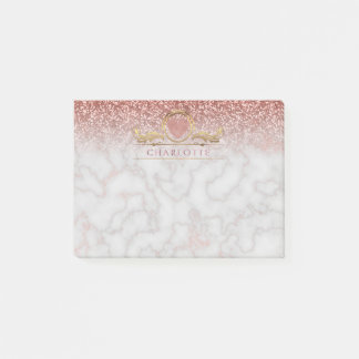 Rose Gold Foil Heart Marble Ombre Glitter Name Post-it Notes