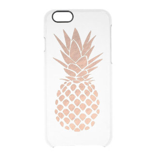 rose gold foil look tropical pineapple clear iPhone 6/6S case