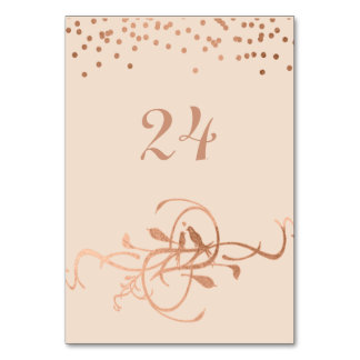 Rose Gold Foil Love Birds Table Numbers Table Cards