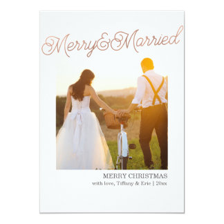 Rose Gold Foil Married & Merry Christmas Cards 13 Cm X 18 Cm Invitation Card