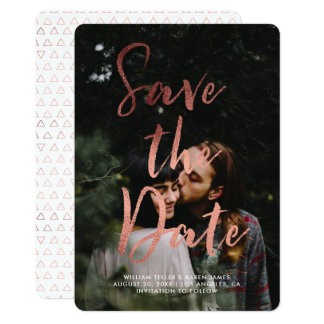 Rose Gold Foil Modern Script Overlay Save the Date Card