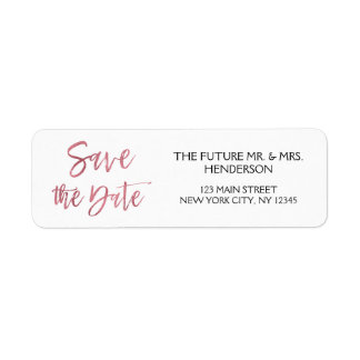 Rose Gold Foil Save the Date Return Address