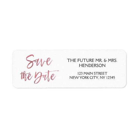 Rose Gold Foil Save the Date Return Address