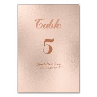 Rose Gold Foil Table Numbers Table Card