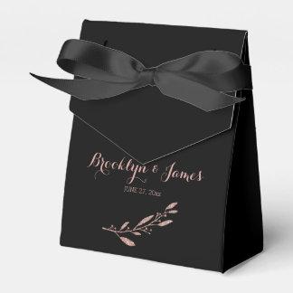Rose Gold Foil Wedding Favor Box Tent Floral Black Party Favour Boxes