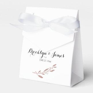 Rose Gold Foil Wedding Favor Box Tent Floral Favour Box