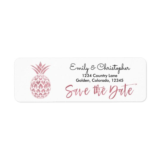 Rose Gold Foil Wedding Save the Date Pineapple