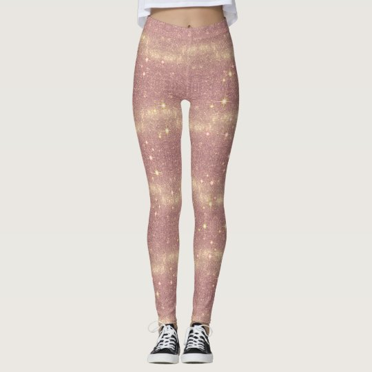 Rose Gold Galaxy Faux Space Sparkle Leggings