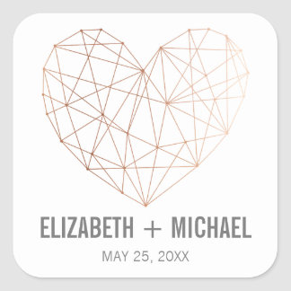 Rose Gold Geometric heart personalised favor label Square Sticker
