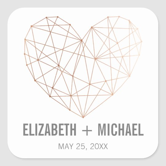 Rose Gold Geometric heart personalised favor label Square