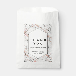 Rose Gold Geometric Marble Thank You Favour Bags
