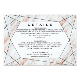Rose Gold Geometric Marble Wedding Details Card