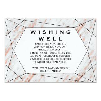 Rose Gold Geometric Marble Wedding Wishing Well Card