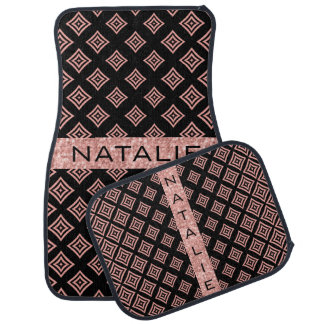 Rose Gold Geometric Shapes On Black Car Mat