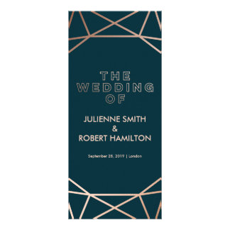 Rose Gold Geometric Wedding Ceremony Program Rack Card