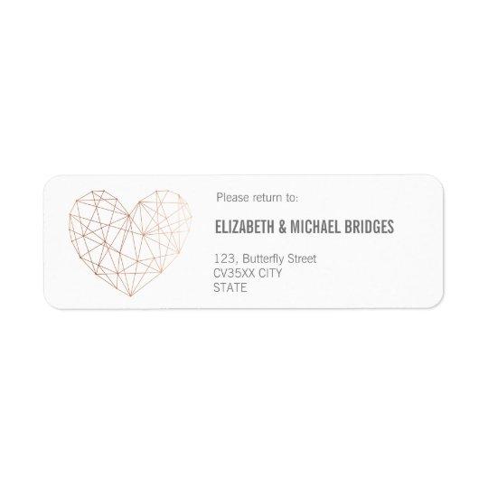 Rose gold Geometric wedding | Return addess label