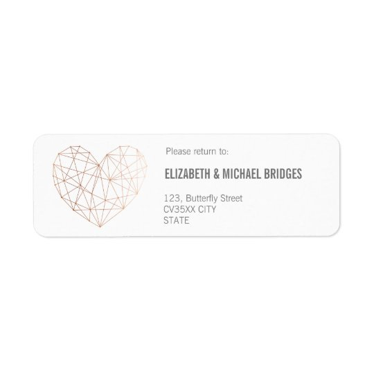 Rose gold Geometric wedding | Return addess label Return Address Label