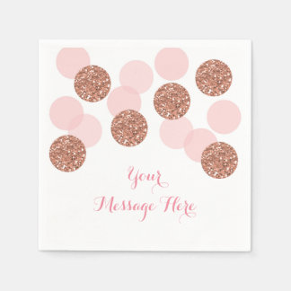 Rose Gold Glitter Baby Shower Disposable Napkin