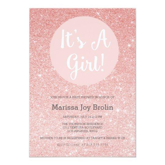 Rose Gold Glitter Baby Shower Invitation