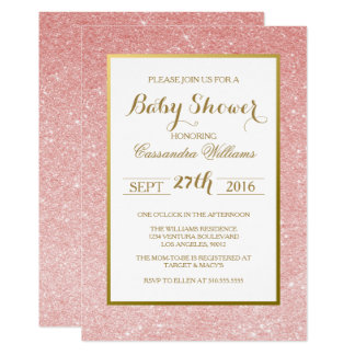 Rose Gold Glitter - Baby Shower Invitation