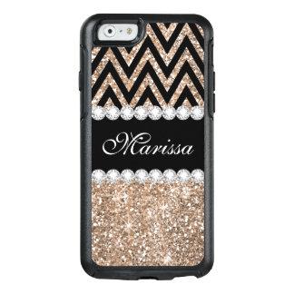 Rose Gold Glitter Black Chevron iPhone 6 Case