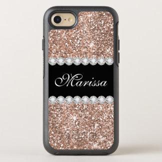 Rose Gold Glitter Black Otterbox iPhone 7 Case