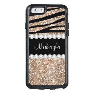 Rose Gold Glitter Black Zebra Otter iPhone 6 Case