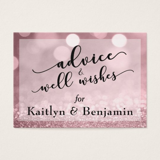 Rose Gold Glitter Bokeh Advice & Well Wishes