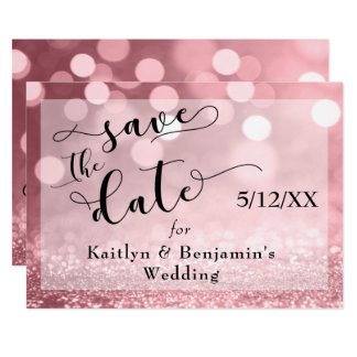 Rose Gold Glitter Bokeh & Typography Save the Date Card