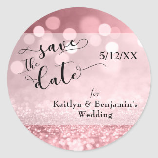 Rose Gold Glitter Bokeh & Typography Save the Date Classic Round Sticker