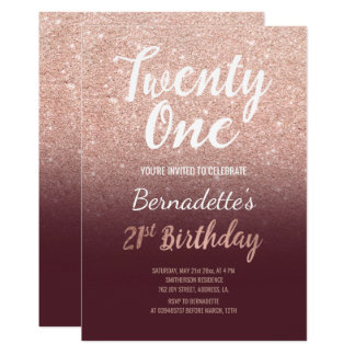 Rose gold glitter burgundy ombre 21st Birthday Card
